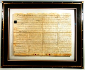 An example of a framed document that reveals both sides.